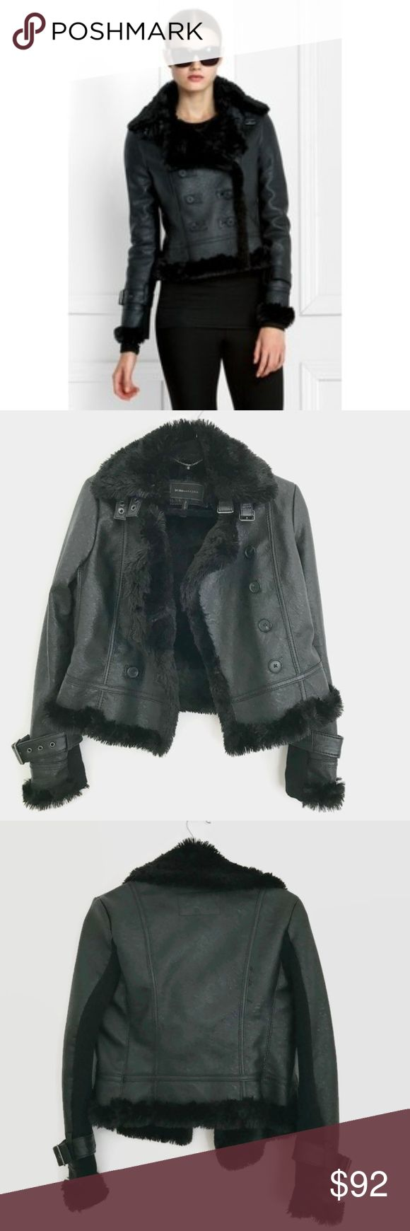 BCBGMaxAzria Double Breasted Faux Shearling Coat BCBGMaxAzria Double Breasted Moto Faux Shearling Black Leather Coat Like new condition Leather has a textured surface Please let me know if you have any questions BCBGMaxAzria Jackets & Coats