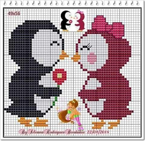 Valentine Penguin love cross stitch.