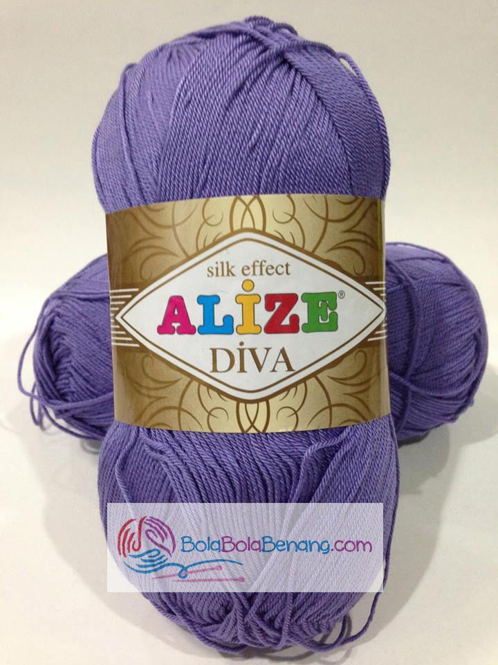 ALIZE DIVA PLAIN 42 Purple, Price: 90.000,-/gulung, Bahan: 100% Microfiber Akrilik, Berat/Panjang: 100gr/350m, Knitting Needles: 2,5mm – 3,5mm, Crochet Hook: 1mm - 3mm