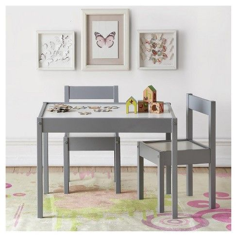 Hunter 3 Piece Kiddy Table Chair Set Gray White Baby