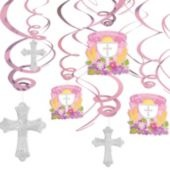 Pink First Communion Hanging Swirl Decorations - Party City