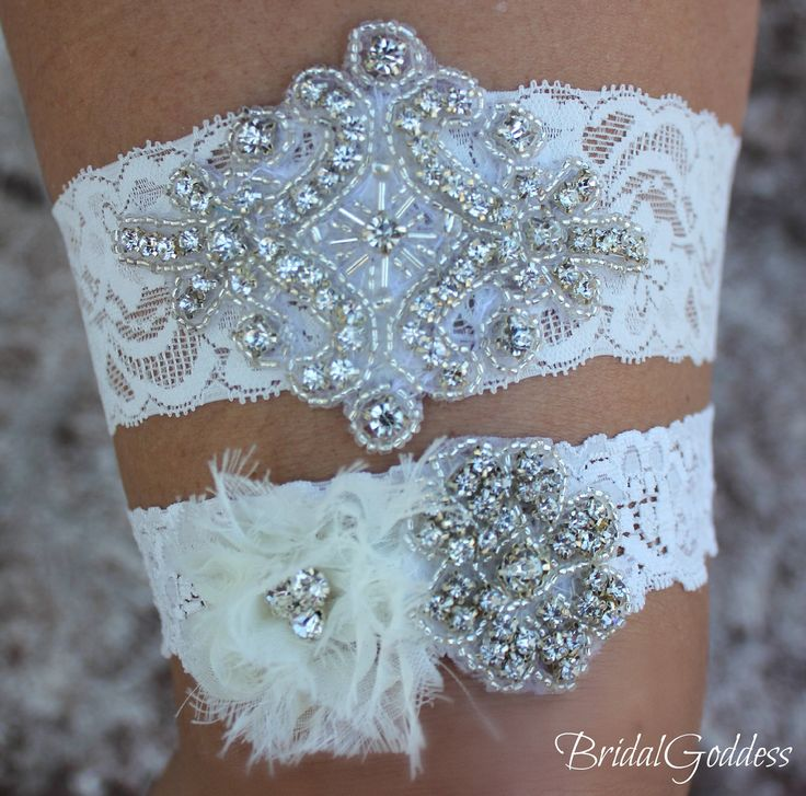 Wedding Garter Set - Toss Garter - Bridal Garter -Wedding - Bride - Crystal Garter-Rhinestone Garter-Vintage Garter-Vintage Wedding. $24.00, via Etsy.