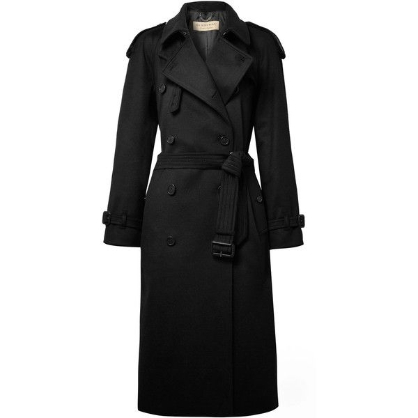 Burberry Eastheath cashmere trench coat found on Polyvore featuring outerwear, coats, jackets, black, double breasted coat, burberry, cashmere coat, cashmere trench coat and burberry trenchcoat