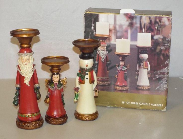 Kirkland Stores Set of Three Christmas Candle Holders Santa Angel Snowman #Kirklands