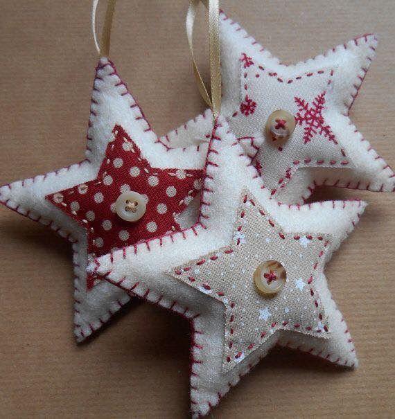 handmade felt star ornaments ... red and white ...
