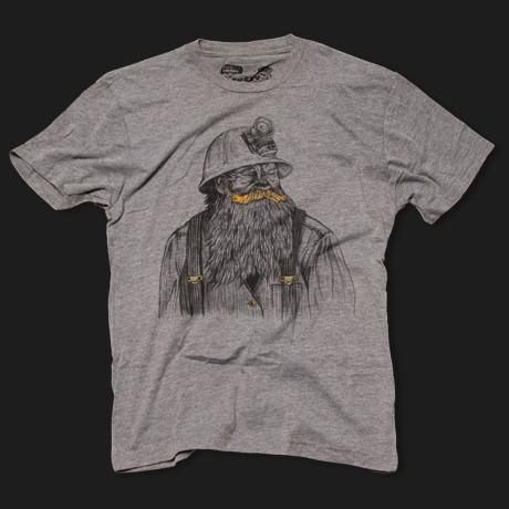 Goldminer T-Shirt - Fuzzy Ink | Mustache Shirts | Moustache Cookie Cutters