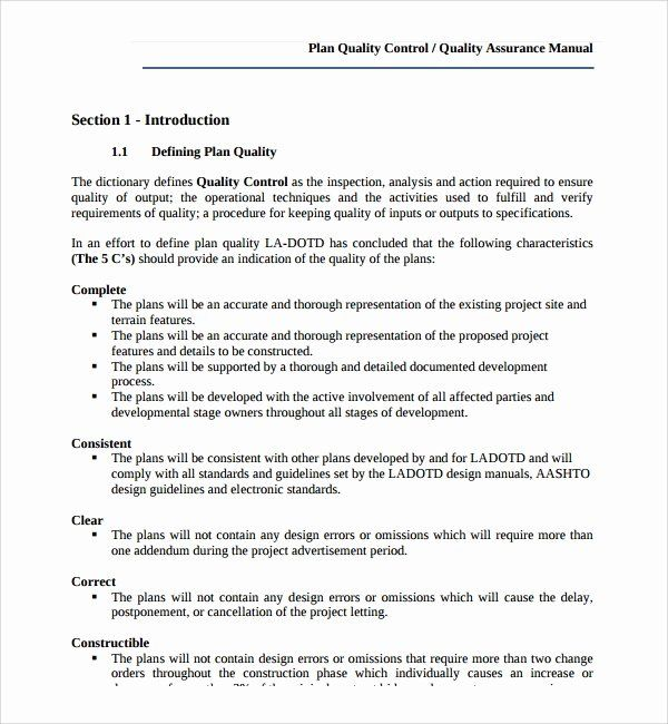 30 Quality Control Plan Template Construction In 2020 How To