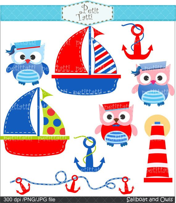 Digital clip art.  for all use,Sailboat and owls