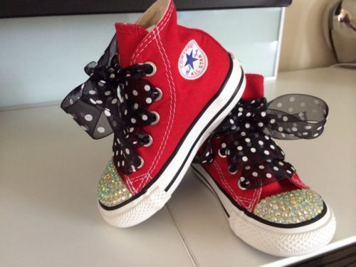 Customised Crystal Bling Infant Size 5 Red Converse All Stars Brand New