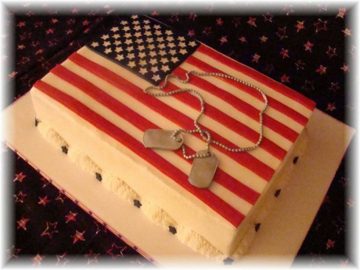 american flag dog tags military patriotic cake