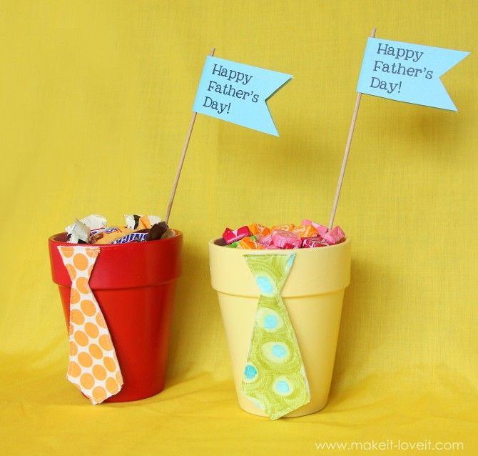 Paint a small terra cotta pot filled with Dad's favorite treats, and add a fabric tie for some Father's Day flair.