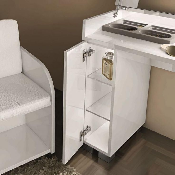 caprice modern vanity table in white high gloss finish with a matching seat