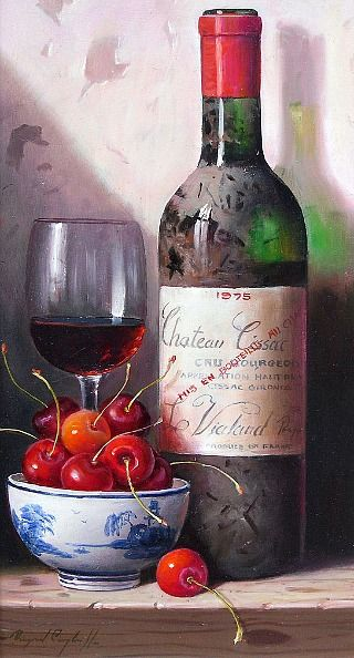 Raymond Campbell  Still Life with Wine and Cherries  21st century