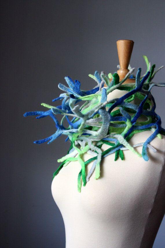 RESERVED  Summer Fish net felted Art  scarf / by VitalTemptation