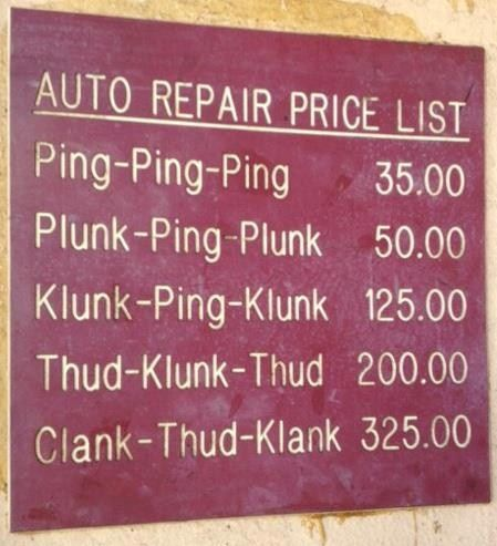 I wish... These days, with everything computerized, the minimum car repair bill seems to be $500.