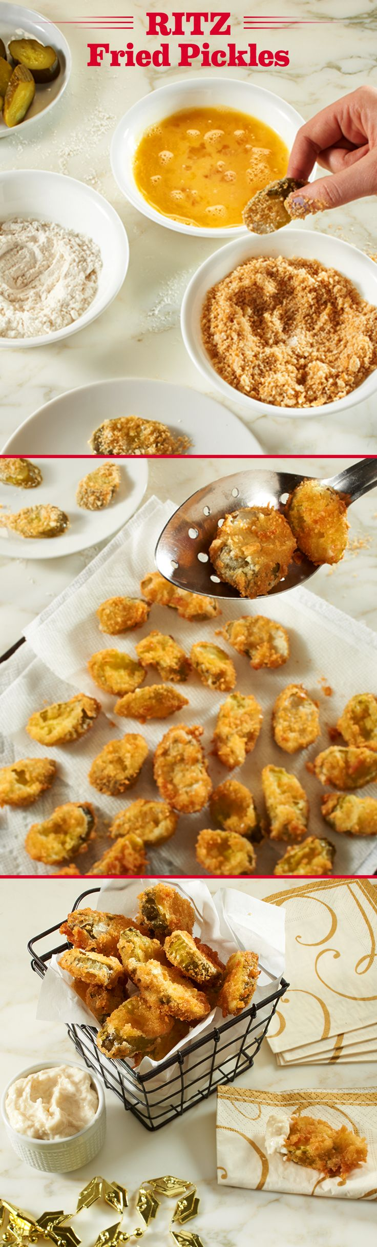 These RITZ Deep Fried Pickles are a great and easy appetizer to serve for a Memorial Day party. Replace traditional breadcrumbs with crumbled RITZ crackers to add a buttery taste and crunchy texture! Mix mayonnaise and horseradish for a side of savory dipping sauce. Yum! You can also dip in your favorite barbecue sauce for a smoky flavor. Life's Rich.