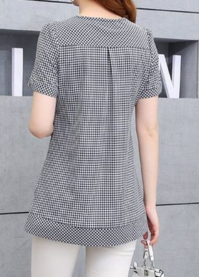 Button Embellished Plaid Print Short Sleeve Blouse on sale only US$29.69 now, buy cheap Button Embellished Plaid Print Short Sleeve Blouse at liligal.com