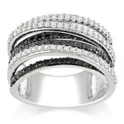 Miadora 10k White Gold 1ct TDW Black and White Diamond  Ring (G-H, I3)
