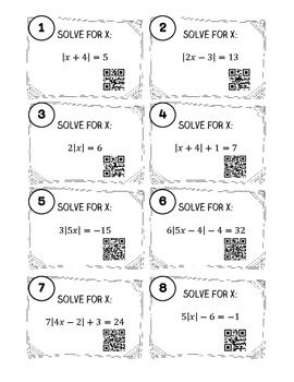 Absolute Value Equations And Inequalities Task Cards W Qr Codes