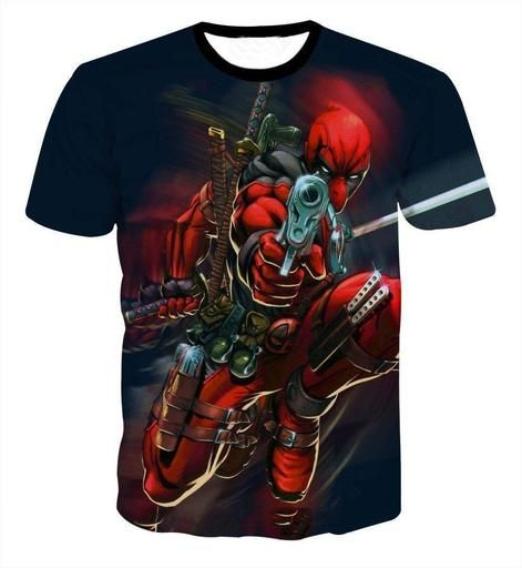 c67333b9d64 Deadpool Mercenary Gun Pointing Full Armed Cartoon Vibrant T-Shirt   superhero  marvel  deadpool  tshirt