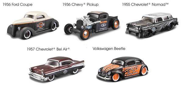 15380-SET-A - Maisto Harley Davidson Custom Car 5 Piece