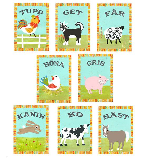 Swedish Farm Animal Cards