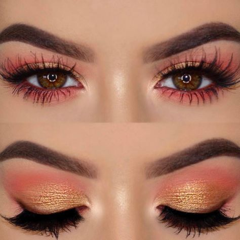 Prueba la tendencia #MakeupPeach #Orange #Makeup #Maquillaje #Eyes
