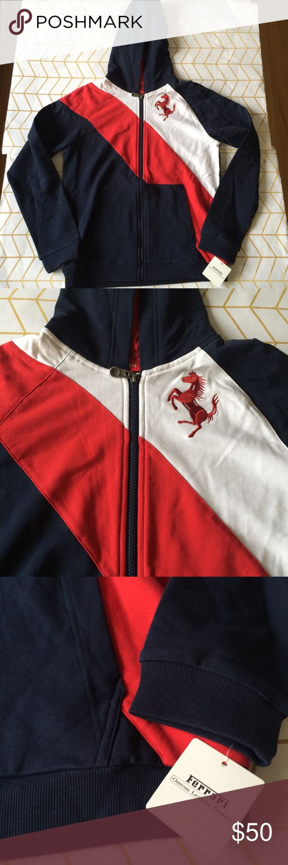 Sample Sale! Ferrari Boys Sweatshirt, M Ferrari Designer Sample Sale! Pls read: Tees are down to $35 (retail $70+), Polos/Sweatpants $40 (retail $80+), Jeans $45 (retail 100+), Sweatshirts $50 (retail $150+), and Jackets $65 (retail $180+), PLUS the 10% bundle discount! These items are heavily discounted by 60-85%, list/bundle prices are FIRM!  {These items are direct from the manufacturer and will have sample tags or no tag. They may have their size/brand printed on tag + NOT garment…
