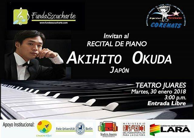 Vía  @fundaescucharte -  Musica para Todos Recital con Akihito Okuda en el Teatro Juares Contribuyendo con el desarrollo integral de la sociedad la Fundacion Escucharte FundaEscucharte viene desarrollando en los ultimos anos alianzas para llevar a cabo diferentes actividades artisticas y pedagogicas en el ambito musical. Es por ello que en el marco del Programa de Difusion de FundaEscucharte invita junto a Corenats para el proximo martes 30 de enero a las 3:00 p.m. el escenario del…