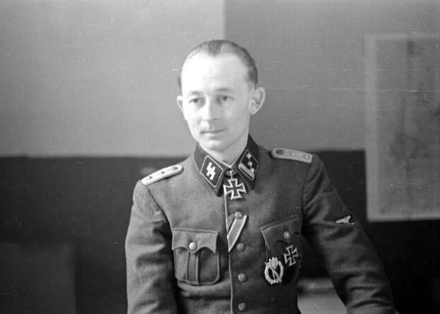 SS-Hauptsturmführer Paul Maitla of the 20. Waffen Grenadier Division der SS (estnische Nr 1) photographed shortly after winning the Knight's Cross for leading the recapture of the central hill of the Sinimäed during theBattle of Tannenberg Line, effectively braking the Soviet offensive in that sector. As an officer in the former Estonian Army he attended and graduated from SS-Junkerschule Bad Tölz officer training in 1943.