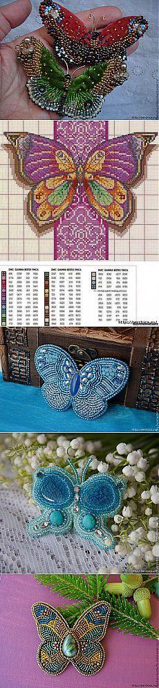 Esquemas de mariposas abalorios bordados.