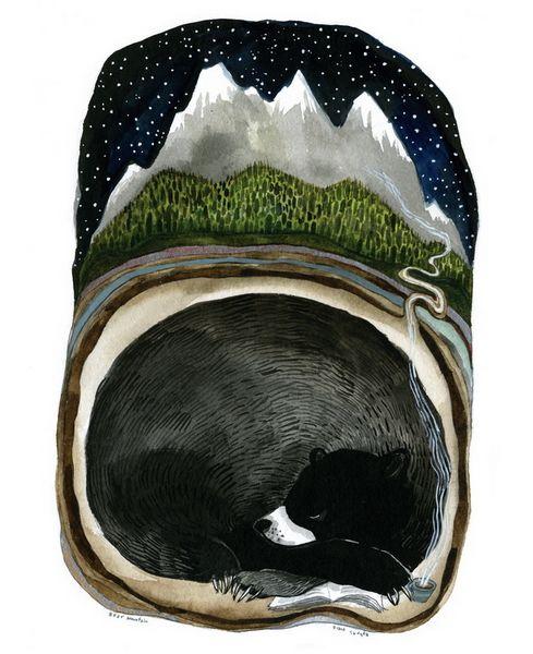 by Diana Sudyka: Artists Diana, Inspiration, The Artists, Bears Mountain, Mountain Prints, Illustrations, Art Prints, Sleep Bears, Diana Sudyka