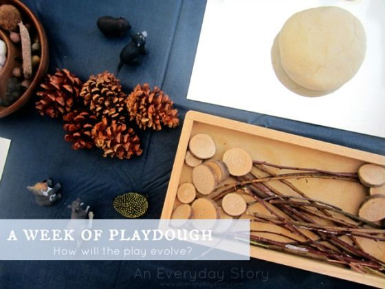 A Week of Playdough: How will the play evolve? Inspired by something I read lately, I've put out a week-long playdough provocation for the children along with a range of different natural materials for imprinting, design, construction and pretend play.
