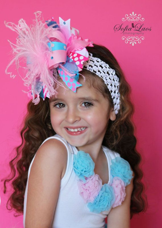 Oh so Girly Pink and Turquiose and Bling Over the Top Hair Bow with matching headband on Etsy, $19.99