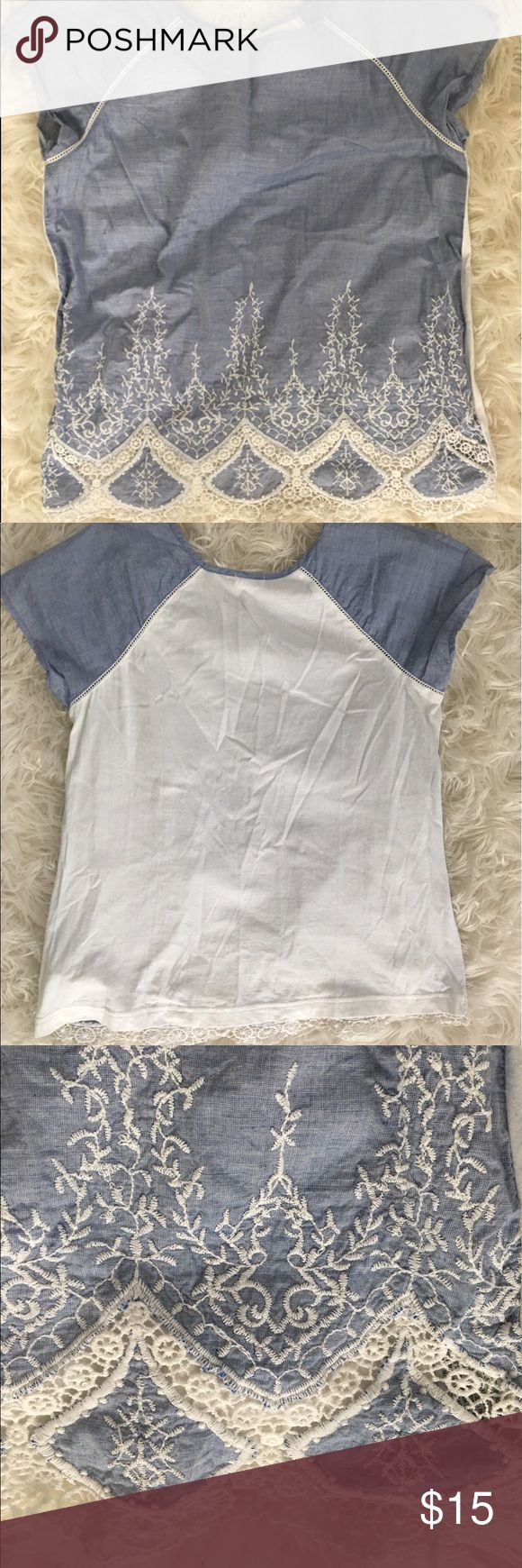 Super Cite Denim Lace Top! Super comfortable and extremely adorable Denim top! Back of the shirt is cotton which allows for good amount of stretch! Worn only twice as seen in the pictures above! Great to dress up or keep casual! oysho Tops Blouses