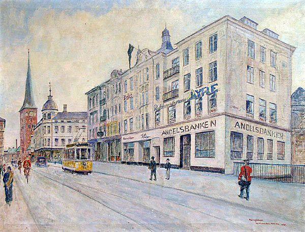 A beautiful watercolor from the old Aarhus, no date. The motif is from Strøget/pedestrian street in Aarhus now. Year is missing.