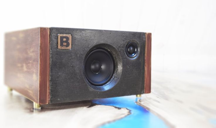 Model 3C is a powerful handmade high-end Bluetooth audio system.  Made of concrete and hard wood. 120 watts of audio power. By PlanB Audio