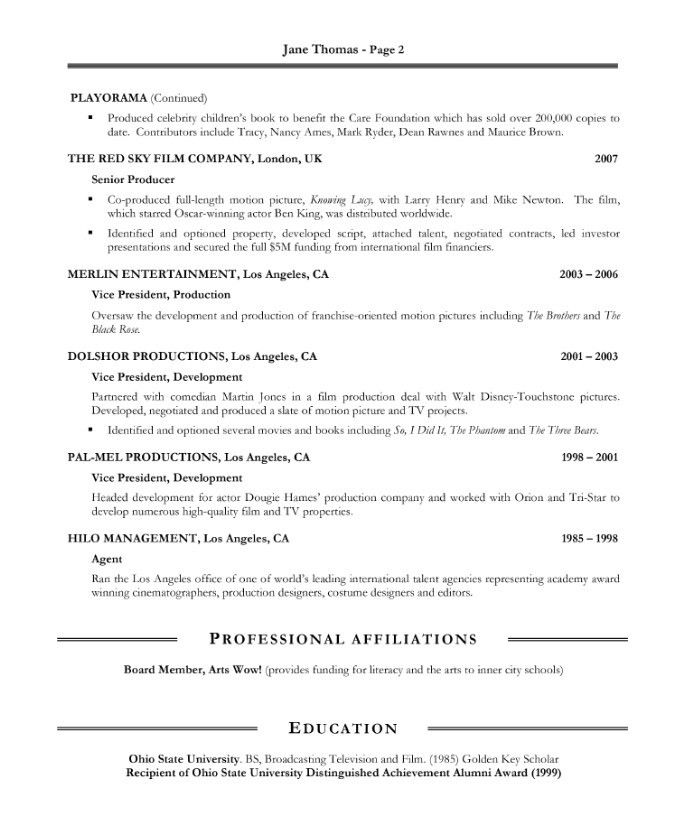 The 7 best PRODUCER Resume images on Pinterest Sample resume - television director resume