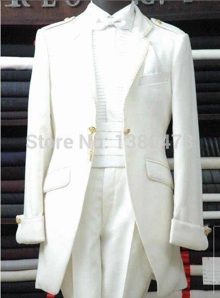 2016 Hot Recommend White Groom Tuxedos Groomsmen Men Wedding Suits Best man Suits (Jacket+Pants+Girdle+Tie)