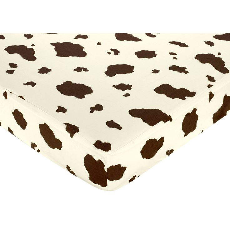 Look to this cow-print fitted crib sheet to jazz up your baby's animal-, farm- or country-themed nursery. Neutral brown spots on a white background go with any color scheme. The sheet is standard-sized for a perfect fit on most cribs and toddler beds.