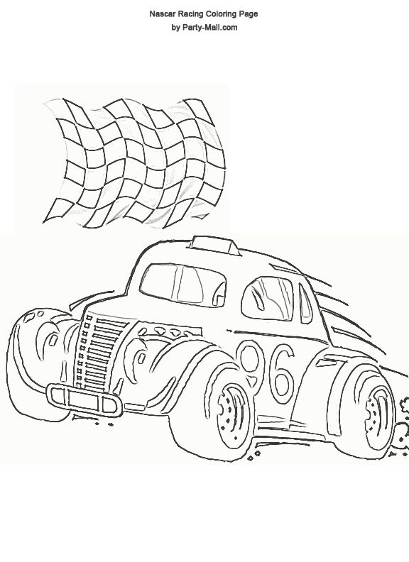 free nascar racing coloring page