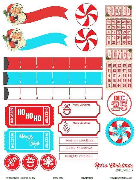 Planner & Journaling Printables Free Printable Retro Christmas Embellishments from Vintage Glam Studio