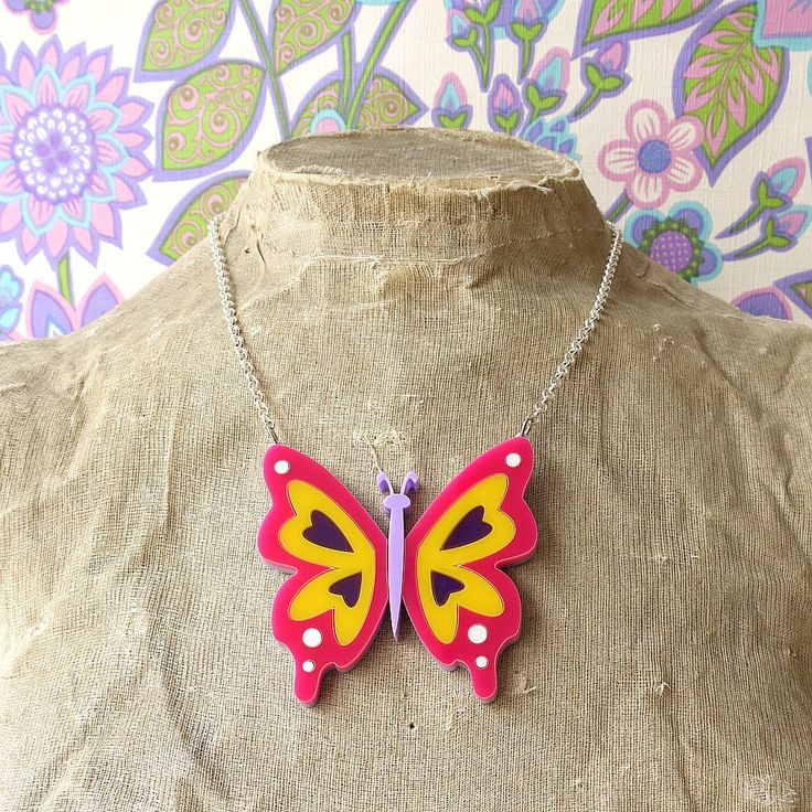 Psychedelic XL Purple 60s Butterfly Pendant Necklace - laser cut acrylic - Retro Mod Large Perspex Bright Fun Summer of Love Peter Max style (24.00 GBP) by YouMakeMeDesign