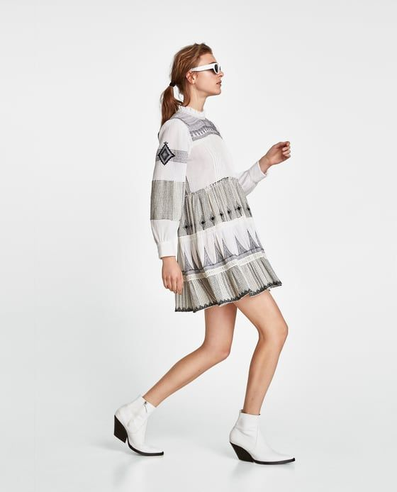 4db06194ec45 Zara MINI DRESS WITH CONTRASTING EMBROIDERY | teen & tween fashion ...