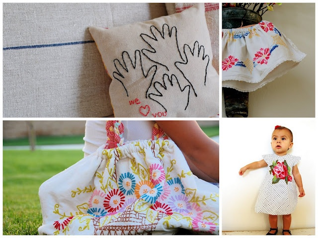 My Mom would eat up the embroidered hands of all her grand-kids!Hands Prints, Grandparents Gift, Hands Pillows, Free Pattern, Hands Embroidery, Grandma Gift, Gift Ideas, Fathers Day, Hands Stitches
