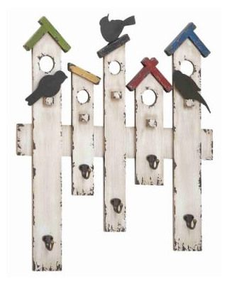 Birdhouse hooks. So unique. The colors would match what I have and I already have reclaimed wood.