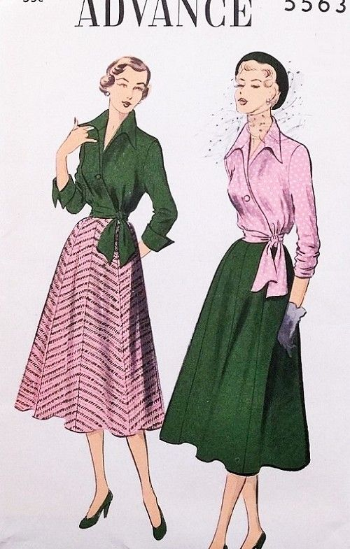 1950s Beautiful Wing Collar Wrap Blouse Eight Gore Skirt Pattern Advance 5563 Bust 38 Vintage Sewing Pattern