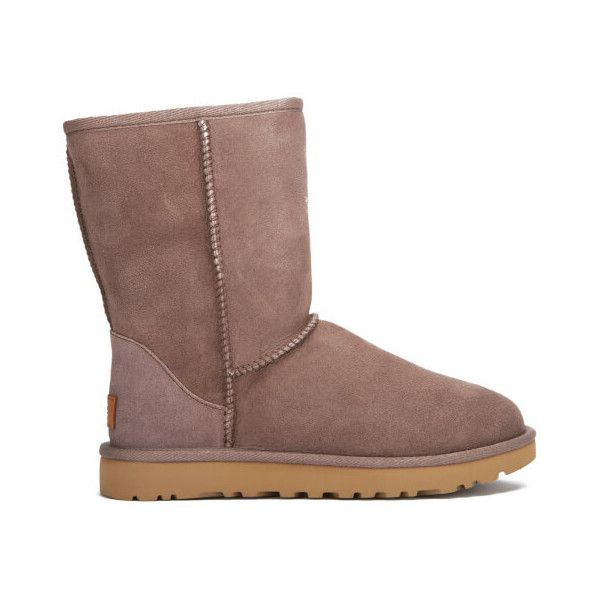 UGG Women's Classic Short II Sheepskin Boots - Stormy Grey ($200) ❤ liked on Polyvore featuring shoes, boots, ankle booties, ankle boots, grey, ugg booties, short grey boots, short ankle boots and flat ankle boots