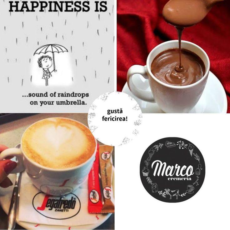 Sunetul ploii care dansează pe umbrelă poate fi terapeutic. O plimbare către o ciocolată caldă sau o cafea cu aromă de povești îți poate aduce clipe de fericire! La Cremeria Marco. #weekend #relaxare