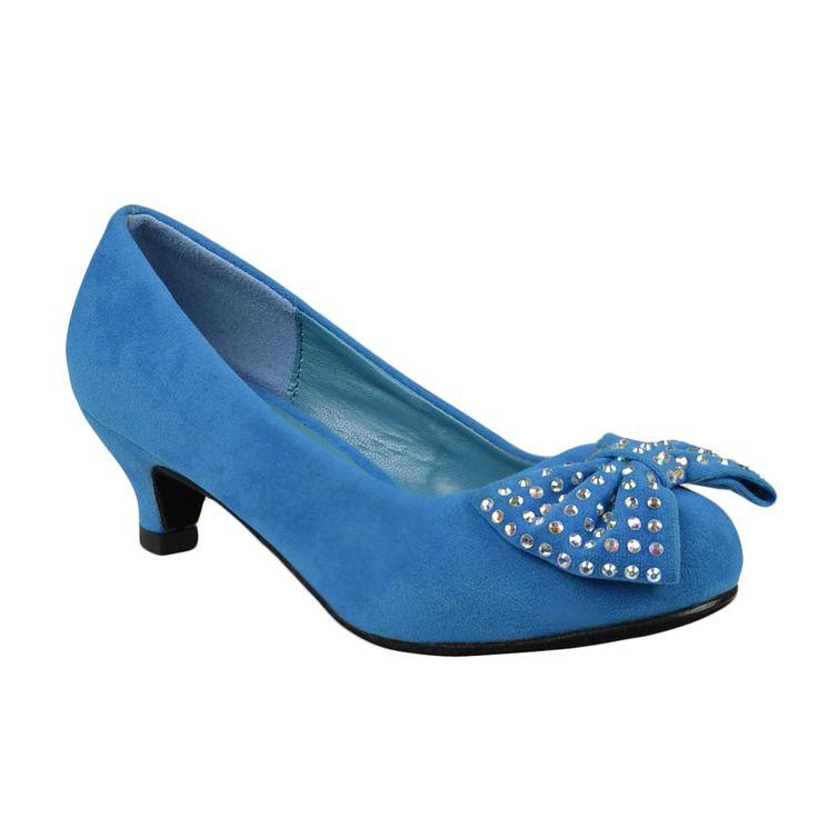 Kids Dress Shoes Accented Bow Suede Dress Pumps Light Blue